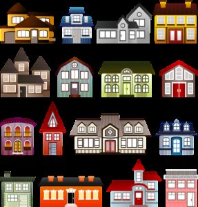 houses, set, architecture